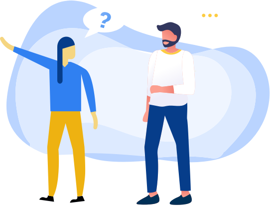 Illustration of people who have questions